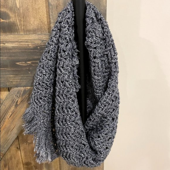 Dark Blue And White Knit Tassle Wrap Scarf